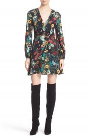 Alice   Olivia Cary Print Blouson Fit   Flare Dress  Nordstrom Exclusive at Nordstrom