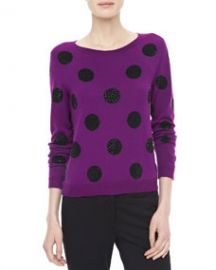 Alice   Olivia Celyn Sequin Polka Dot Sweater at Neiman Marcus