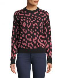 Alice   Olivia Chia Leopard Jacquard Crewneck Pullover at Neiman Marcus