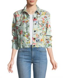Alice   Olivia Chloe Floral-Print Cropped Denim Jacket at Neiman Marcus
