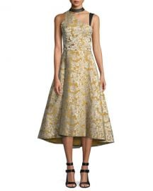 Alice   Olivia Chrissy Leather Combo Cutout Flare Dress at Neiman Marcus