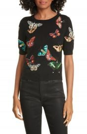 Alice   Olivia Ciara Butterfly Crop Sweater   Nordstrom at Nordstrom