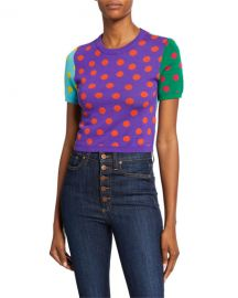 Alice   Olivia Ciara Dot Colorblock Crewneck Short-Sleeve Reversible Sweater at Neiman Marcus