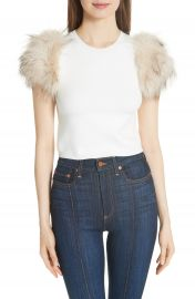Alice   Olivia Ciara Sweater with Genuine Rabbit  amp  Fox Sleeves   Nordstrom at Nordstrom