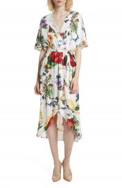 Alice   Olivia Clarine Floral Wrap Midi Dress at Nordstrom