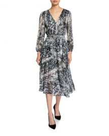Alice   Olivia Coco Plunging V-Neck Mock-Wrap Dress at Neiman Marcus