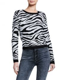Alice   Olivia Connie Embellished Zebra Stripe Sweater at Neiman Marcus