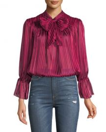 Alice   Olivia Danika Gathered Tie-Neck Blouse   Neiman Marcus at Neiman Marcus