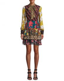 Alice   Olivia Dasha Tiered Ruffle Tie-Neck Dress at Neiman Marcus