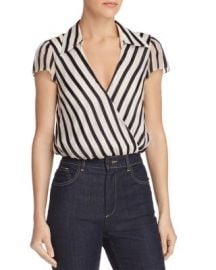 Alice   Olivia Dayer Striped Faux-Wrap Top   Bloomingdale  39 s at Bloomingdales