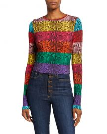 Alice   Olivia Delaina Colorblock Snake-Print Crewneck Long-Sleeve Crop Top at Neiman Marcus