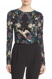 Alice   Olivia Delaina Print Long Sleeve Crop Top at Nordstrom