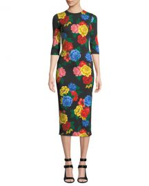 Alice   Olivia Delora Fitted Floral Crewneck Dress at Neiman Marcus