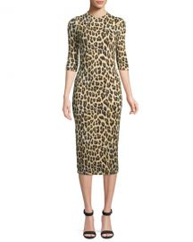 Alice   Olivia Delora Fitted Leopard Mock-Neck Dress at Neiman Marcus