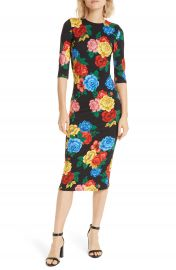Alice   Olivia Delora Fitted Midi Dress   Nordstrom at Nordstrom