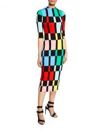 Alice   Olivia Delora Fitted Mock-Neck Colorblock Dress at Neiman Marcus