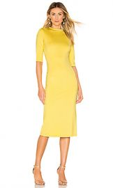Alice   Olivia Delora Fitted Mock Neck Dress in Canary from Revolve com at Revolve