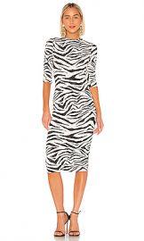 Alice   Olivia Delora Fitted Mock Neck Dress in LG Tiger SFT White  amp  Black from Revolve com at Revolve