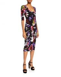 Alice   Olivia Delora Fitted Scoop-Neck Printed Dress at Neiman Marcus