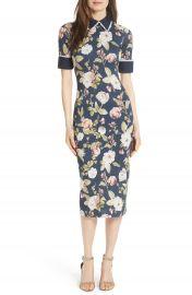 Alice   Olivia Delora Fittted Floral Dress at Nordstrom