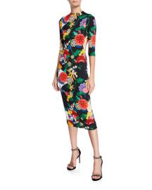 Alice   Olivia Delora Long-Sleeve Floral Fitted Sheath Midi Dress at Neiman Marcus