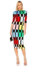 Alice   Olivia Delora Mock Neck Dress in Color Block from Revolve com at Revolve