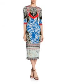 Alice   Olivia Delora Printed Crewneck 3 4-Sleeve Fitted Midi Dress at Neiman Marcus