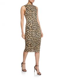 Alice   Olivia Delora Sleeveless Fitted Leopard Mock-Neck Dress at Neiman Marcus
