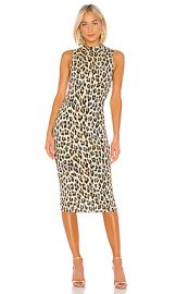 Alice   Olivia Delora Sleeveless Fitted Mock Neck Dress in Textured Leopard from Revolve com at Revolve