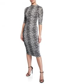 Alice   Olivia Delora Snake-Print Mock-Neck Elbow-Sleeve Fitted Dress at Neiman Marcus