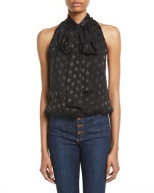 Alice   Olivia Delphine Tie-Neck Gathered Top at Neiman Marcus