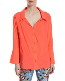Alice   Olivia Denver Open-Neck Button-Front Oversized Blouse at Neiman Marcus