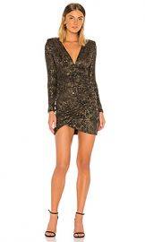 Alice   Olivia Diaz Plunging Long Sleeve Dress in Black  amp  Gold from Revolve com at Revolve