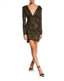 Alice   Olivia Diaz Plunging V-Neck Draped Long-Sleeve Dress at Neiman Marcus