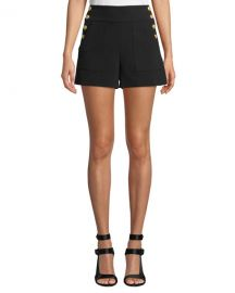 Alice   Olivia Donald High-Waist Side-Button Shorts at Neiman Marcus
