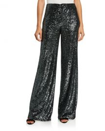 Alice   Olivia Dylan High-Rise Wide-Leg Sequined Pants at Neiman Marcus