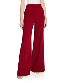 Alice   Olivia Dylan High-Waist Wide-Leg Pintucked Pants at Neiman Marcus