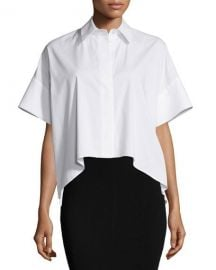 Alice   Olivia Edyth High-Low Short-Sleeve Shirt at Neiman Marcus