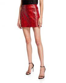 Alice   Olivia Elana Snake-Print Lambskin Leather Mini Skirt at Neiman Marcus