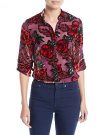 Alice   Olivia Eloise Mandarin-Collar Button-Front Floral-Burnout Blouse at Neiman Marcus