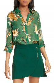 Alice   Olivia Eloise Roll Sleeve Floral Blouse at Nordstrom
