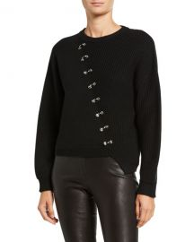 Alice   Olivia Elyse Cropped Asymmetric Pullover w  Hardware at Neiman Marcus
