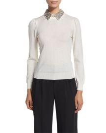 Alice   Olivia Era Embellished-Collar Puff-Sleeve Sweater  Cream at Neiman Marcus