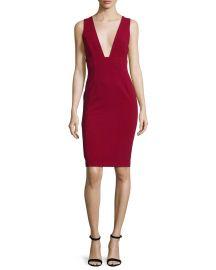 Alice   Olivia Esmira Sleeveless V-Neck Sheath Dress  Burgundy at Neiman Marcus