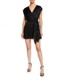 Alice   Olivia Essie V-Neck Self-Tie Mini Dress at Neiman Marcus