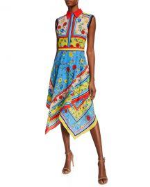 Alice   Olivia Farrah Collared Handkerchief Dress at Neiman Marcus