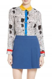 Alice   Olivia Gary Print Silk Blouse at Nordstrom