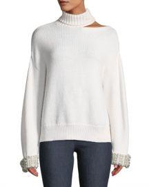 Alice   Olivia Gemini Shoulder-Cutout Embellished Turtleneck Sweater at Neiman Marcus