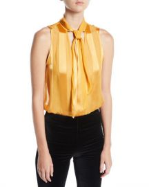 Alice   Olivia Gwenda Sleeveless Paneled Tie-Neck Blouse at Neiman Marcus
