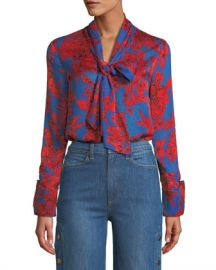 Alice   Olivia Gwenda Tie-Neck Cropped Blouse at Neiman Marcus